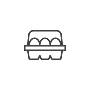 Eggs In Box Package outline icon. linear style sign for mobile concept and web design. Egg container simple line vector icon. Symbol, logo illustration. Pixel perfect vector graphics