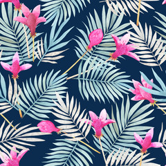 Seamless watercolor pattern with tropical leaves, beautiful hibiscus flowers
