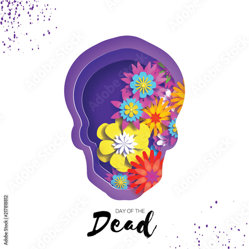Day Of The Dead Paper Cut Skull Frame For Text Mexican Celebration
