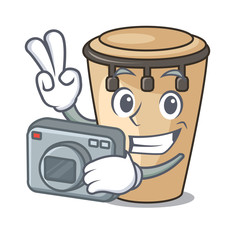 Photographer conga mascot cartoon style