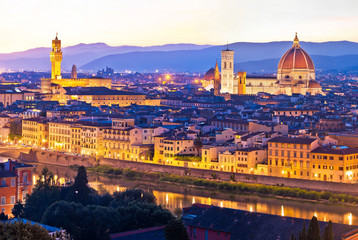 Florence cityscape panoramic evening view