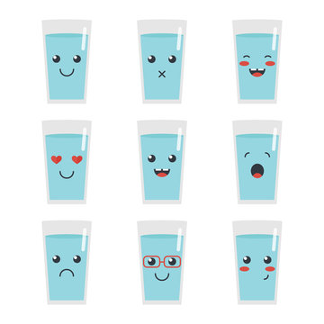 Cute cartoon glass of water character with different facial expressions, emotions. Set, collection of emoji isolated on white background.