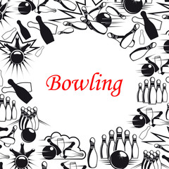 Bowling ball and pins poster for sport game design
