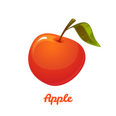 Vector illustration of red apple on white background