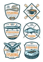 Fishing club and fisher shop retro badges