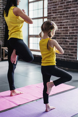 Mother and daughter practicing yoga together meditating standing on one leg with hands in prayer