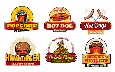 Fast food retro badges with burger and hot dog