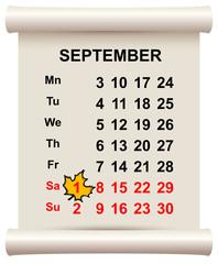 September 1 beginning of autumn. Maple leaf on calendar