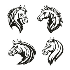 Horse animal tribal tattoo or racing sport mascot