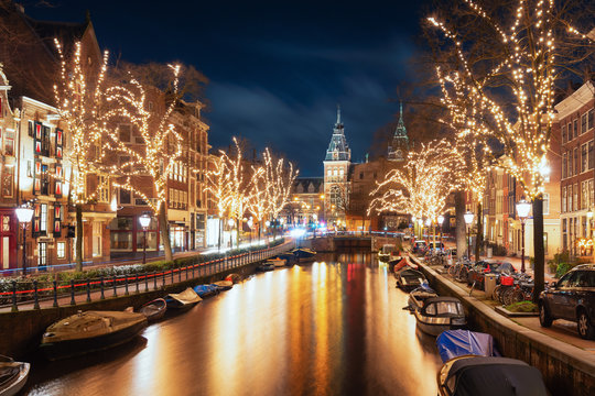 The Spiegelgracht in the old town of Amsterdam with the Rijks Museum in the background