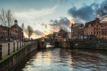 The bridge over the Singel canal in the old town of Amsterdam.