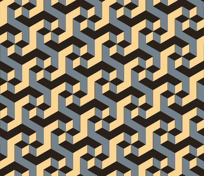 geometric seamless tile with rotating cubic pattern in silver ivory