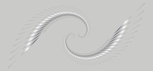 two graphic spirals wings in silver shades