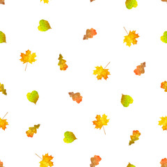 Vector seamless pattern with falling colorful autumn leaves.