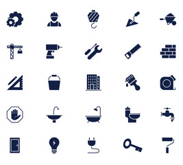 construction glyph icon set, designed for web and app