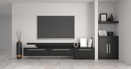 modern Tv black cabinet in empty room interior designs background  3d rendering home have furniture,background shelves and books on the desk in front of  wall empty clean wall