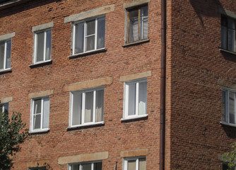 Old residential building. Apartment block. Kazakhstan (Ust-kamenogorsk). Apartment building. Old architecture. Old town