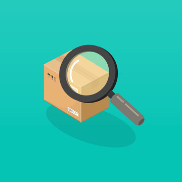 Parcel or order tracking vector illustration, isometric cartoon magnifier glass searching or find package box, concept of shipping logistic
