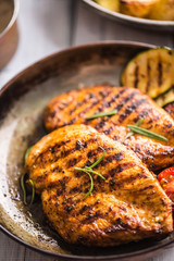 Grilled chicken breast in old frying pan.