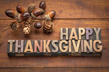 Happy Thanksgiving greeting card in wood type