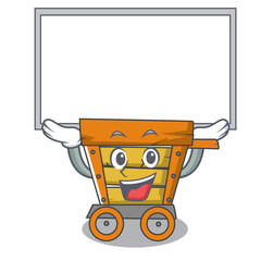 Up board wooden trolley character cartoon