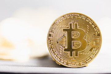 Bitcoin close-up on shining bright background
