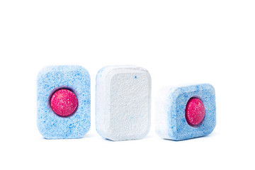 Dishwasher tablets on a white background isolate