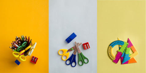 Back to school. Items for the school on a different background.