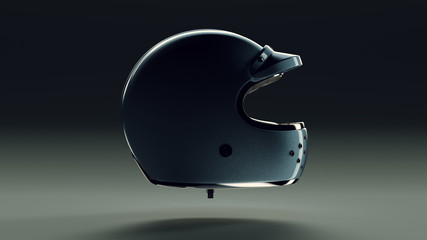 Blue Metallic Motorcycle Helmet Backlit 3d illustration 3d render