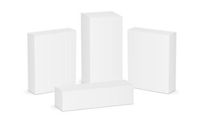 Set of four white blank rectangular boxes. Mock up for pharmaceutical packaging design. Vector illustration