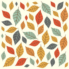 Colorful autumn pattern with small leaves