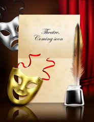 Theater Masks Realistic Composition