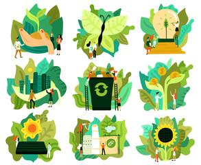 Ecological Restoration Icons Set