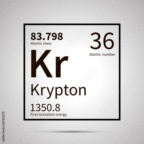 Krypton Chemical Element With First Ionization Energy And Atomic