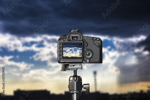 Tripod Photography With A Modern Dslr Background Is Blurred Stock