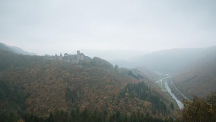 Bourscheid castle in fog