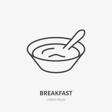 Yogurt with spoon flat logo, breakfast porridge icon. Dairy product vector illustration. Sign for healthy food store.