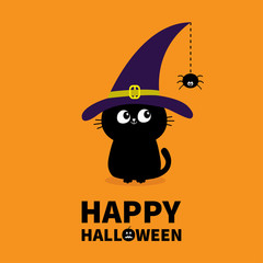 Happy Halloween. Black cat silhouette looking to hanging on dash line web spider insect. Witch hat cap. Cute cartoon character Baby pet animal collection Flat design Orange background