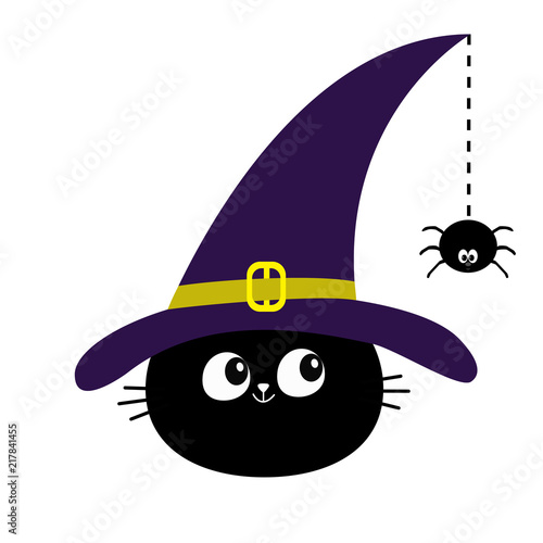 Halloween Cartoon Witch Face.Black Cat Head Face Silhouette Looking To Hanging On Dash Line Web