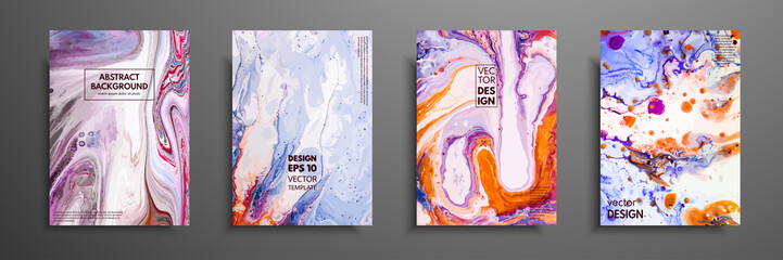 Abstract painting, can be used as a trendy background for wallpapers, posters, cards, invitations, websites. Modern artwork. Marble effect painting. Mixed blue, purple and orange paints.