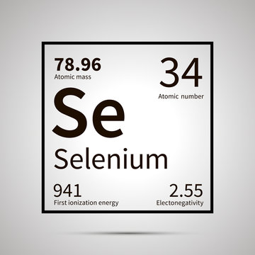 Selenium chemical element with first ionization energy, atomic mass and electronegativity values ,simple black icon with shadow