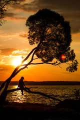Silhouette of women sitting on the tree at sunset