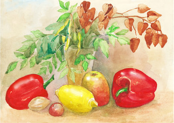 Watercolor painting sketch. Still life with lemon, Apple and pepper