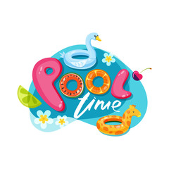 Swimming pool time letters. Vector label, sticker or print design. Swan and giraffe float kids toys. Doodle illustration