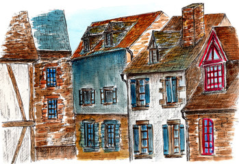 France. Normandy. Watercolor sketches of old houses in the abbey Mont Saint Michel. City sketch.