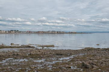 Saltcoats bay and harbour Wall Ayrshire Scotland