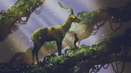 Foto auf Acrylglas Lavendel young hiker found giant deer statue covered with moss and lichen while traveling in the forest, digital art style, illustration painting