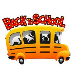 Kids riding on cartoon fun school bus vector