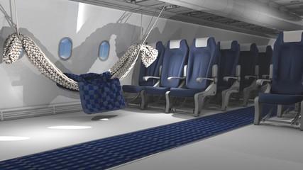 3D illustration of aircraft interior with Hammock