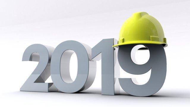 3D illustration of number 2019 wearing a hard helmet